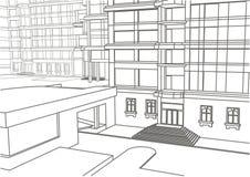 Esboço linear arquitetónico da construção em poucos níveis Fotos de Stock