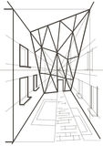 Esboço linear arquitetónico de uma construção Foto de Stock Royalty Free