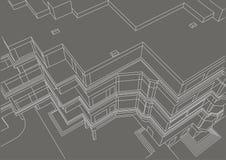 Esboço linear arquitetónico que constrói o fundo cinzento Imagens de Stock Royalty Free
