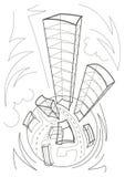 Esboço linear dos desenhos animados de um planeta Fotografia de Stock Royalty Free