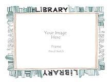Esboço a mão livre do lápis da moldura para retrato do alfabeto da palavra da biblioteca Foto de Stock Royalty Free