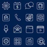 Esboço móvel dos ícones das aplicações Imagens de Stock