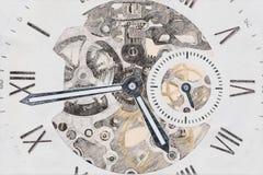 Esboço mecânico do conceito do relógio fotos de stock