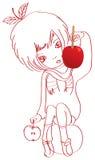 Esboço-menina-doce-maçã ilustração royalty free