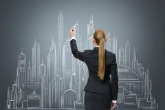 Esboço novo do desenho da mulher de negócios na parede Imagens de Stock
