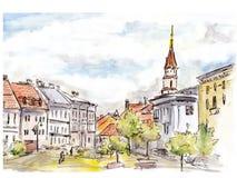 Esboço pintado à mão da rua da cidade de Vilnius Aquarela e forro Foto de Stock Royalty Free