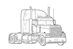 Esboço preto e branco americano do caminhão de reboque Foto de Stock