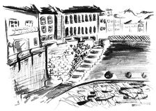 Esboço preto e branco monocromático da paisagem do canal da rua da tinta Fotografia de Stock Royalty Free