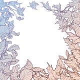 Esboço quadrado do quadro das folhas de outono Fotografia de Stock Royalty Free