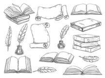 Esboço retro do vetor dos livros e das penas da literatura ilustração royalty free