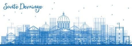 Esboço Santo Domingo Dominican Republic City Skyline com azul ilustração royalty free
