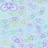 Esboço sem emenda do sumário do fundo das ilustrações da bicicleta, textura tirada mão Digitas, forma, detalhes & efeito ilustração stock