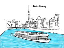 Esboço sightseeing do panorama de Berlim ilustração stock