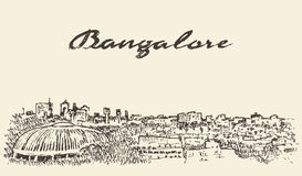 Esboço tirado ilustração da Índia da skyline de Bangalore ilustração stock
