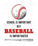 Esboço tirado mão da bola e do bastão do basebol com tipografia engraçada no fundo branco Desenho detalhado do estilo gravura a á ilustração stock