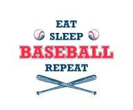 Esboço tirado mão da bola e do bastão com tipografia inspirador isolados no fundo branco Coma, sono, basebol, repetição ilustração royalty free
