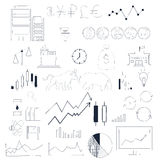 Esboço tirado mão da garatuja da coleção de Infographics Negócio e elementos do mercado de valores de ação Fotografia de Stock