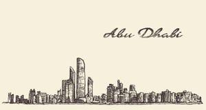 Esboço tirado mão da ilustração da skyline de Abu Dhabi ilustração stock