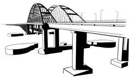 Esboço tirado mão da ponte crimeana Fotografia de Stock