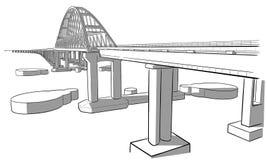 Esboço tirado mão da ponte crimeana Imagem de Stock Royalty Free