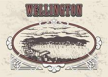 Esboço tirado mão da skyline de Wellington Wellington em um quadro decorativo do vintage ilustração do vetor