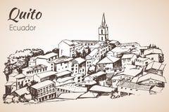 Esboço tirado mão de Quito equador ilustração royalty free
