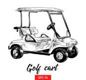 Esboço tirado mão do carrinho de golfe no preto isolado no fundo branco Desenho detalhado do estilo gravura a água-forte do vinta ilustração do vetor