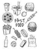 Esboço tirado mão do menu do grupo do fast food ilustração royalty free