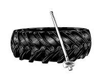 Esboço tirado mão do pneu e do hummer de formação no preto isolados no fundo branco Desenho detalhado do estilo gravura a água-fo ilustração do vetor