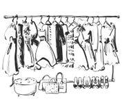 Esboço tirado mão do vestuário furniture Vestido, bolsa e sapatas Roupa ilustração royalty free