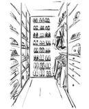 Esboço tirado mão do vestuário furniture Vestido, bolsa e sapatas Roupa Vestuario ilustração do vetor