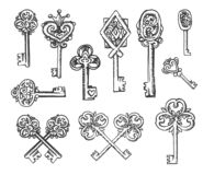 Esboço tirado mão do vetor da ilustração das chaves do vintage no fundo branco ilustração stock