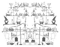 Esboço tirado mão do vetor da ilustração da química no fundo branco ilustração royalty free