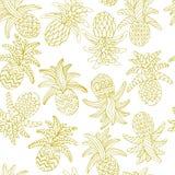 Esboço tirado mão do vetor da ilustração sem emenda do teste padrão do abacaxi no fundo branco ilustração stock