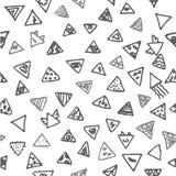 Esboço tirado mão do vetor da ilustração sem emenda do teste padrão do triângulo do sumário no fundo branco ilustração stock