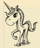 Esboço Unicorn Doodle do caderno Imagens de Stock Royalty Free