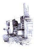 Esboço urbano ilustração royalty free