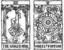 Esboço v.6 de dois cartões de Tarot Imagens de Stock Royalty Free