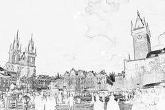 Esboço velho da praça da cidade Fotografia de Stock Royalty Free