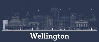 Esbo?o Wellington New Zealand City Skyline com constru??es brancas ilustração stock