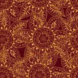 Esboços amarelos das flores no fundo vinous Ilustração Stock