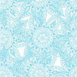 Esboços azuis das flores no fundo branco Fotos de Stock