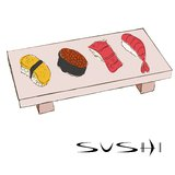 Esboços coloridos do sushi Imagem de Stock Royalty Free