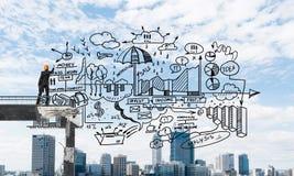 Esboços conceptuais do negócio do desenho do homem de negócios Imagem de Stock