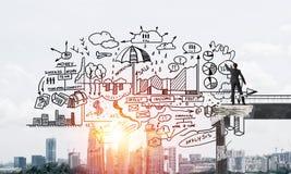 Esboços conceptuais do negócio do desenho do homem de negócios Imagens de Stock Royalty Free