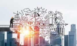 Esboços conceptuais do negócio do desenho do homem de negócios Fotos de Stock