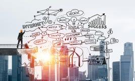 Esboços conceptuais do negócio do desenho do homem de negócios Imagem de Stock Royalty Free