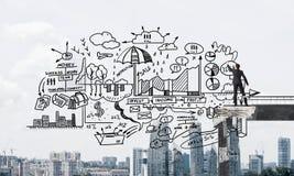 Esboços conceptuais do negócio do desenho do homem de negócios Foto de Stock