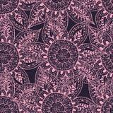 Esboços cor-de-rosa das flores no fundo cinzento Ilustração Stock
