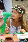Esboços da pintura da menina da argila Fotografia de Stock